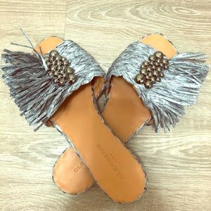 Clergerie Grey Braided Raffia Sandals SZ 10 New!